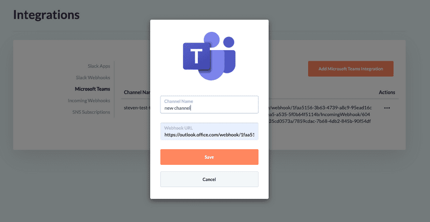 Save your new Microsoft Teams integrations