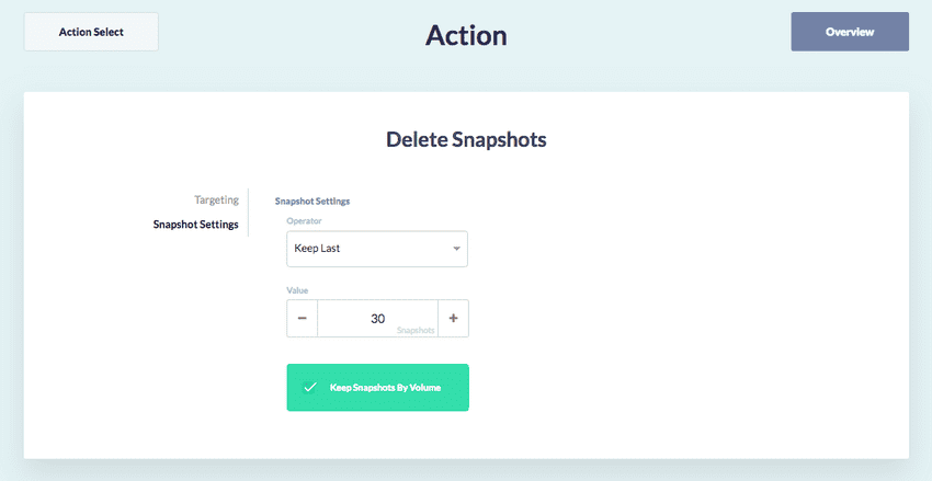 Action Snapshot Retention Policy